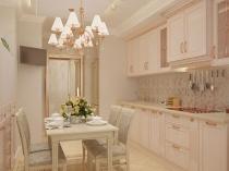 Светлые бежевые обои в интерьере кухни