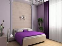 Светло-фиолетовые и бежевые обои в спальне