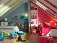 Дизайн комнаты на мансарде для разнополых детей