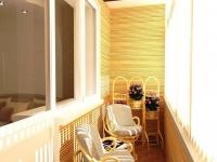 Плетеная мебель и отделка под бамбук в интерьере балкона