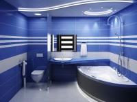 Двухуровневый потолок с подсветкой в большом санузле