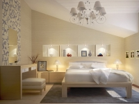 Зонирование пространства мансардной спальни