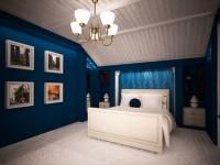 Просторная синяя мансардная спальня с деревянной отделкой потолка