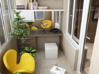 Такой дизайн балкона офиса придется по душе любителям ярких красок