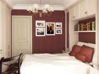 Встроенная мебель с книжной полкой над кроватью в малогабаритной спальне