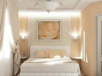 Выбор белого и персикового цвета для оформления малогабаритной спальни