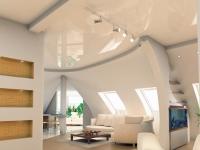 Глянцевый натяжной потолок мансарды