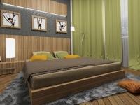 Зелено-коричневая гамма оформления спальни в стиле эко
