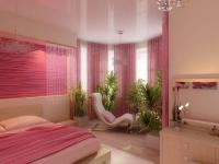 Декорирование окон эркерной спальни розовыми шторами
