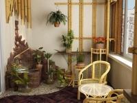 Обшивка стен лоджии бамбуком