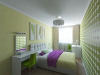 Вариант планировки узкой спальни с оборудованием двух рабочих мест