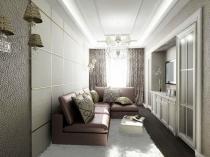 Раскладной диван и ниша для телевизора в интерьере узкой спальни