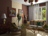 Часть стены с золотыми обоями в комнате с темно-бордовыми стенами