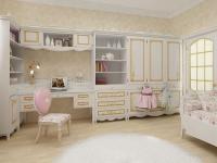 Комната девочки с белой мебелью и золотыми обоями