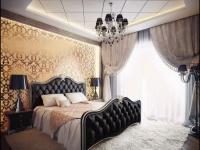 Стена спальни с золотыми обоями и подсветкой